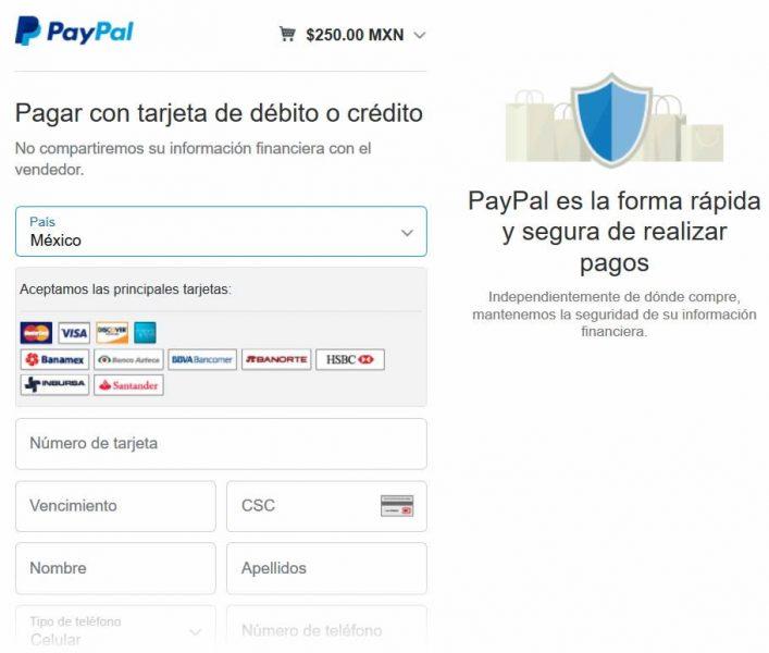 Pagar simulador con tarjeta de crédito paso 2